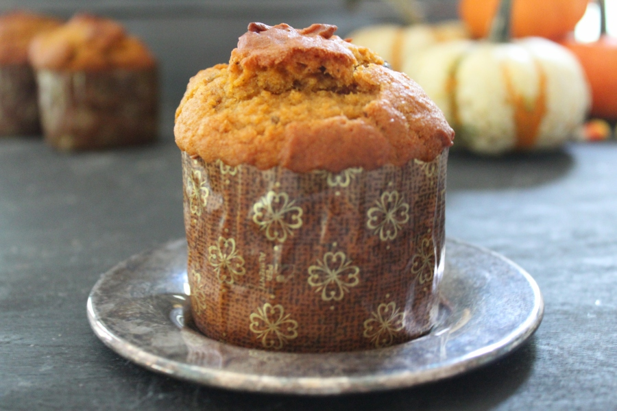 Pumpkin Panettone Muffins with Toasted Walnuts