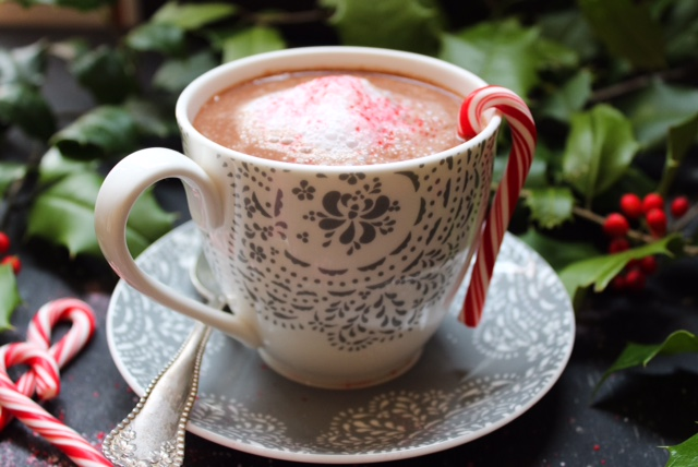 Vegan Hot Cocoa with Peppermint Crunch Topping