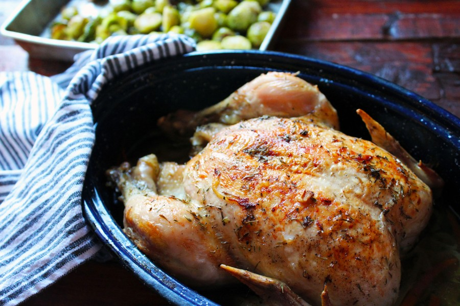 Herb Roasted Chicken Baked in Babci's Blue Graniteware Roaster, circa 1950