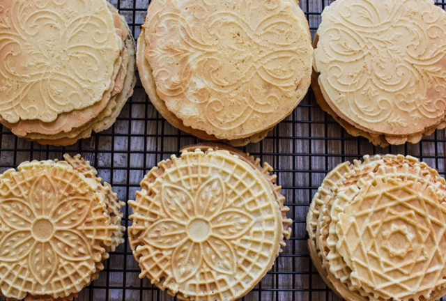 Irresistable Pressed Cookies also known as krumkake, lukken, pizzelle and stroopwafel.