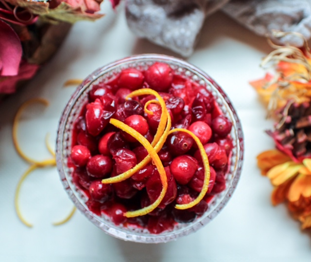 Prepping day;  Jersey Fresh Cranberry Sauce with a Splash of GrandMarnier