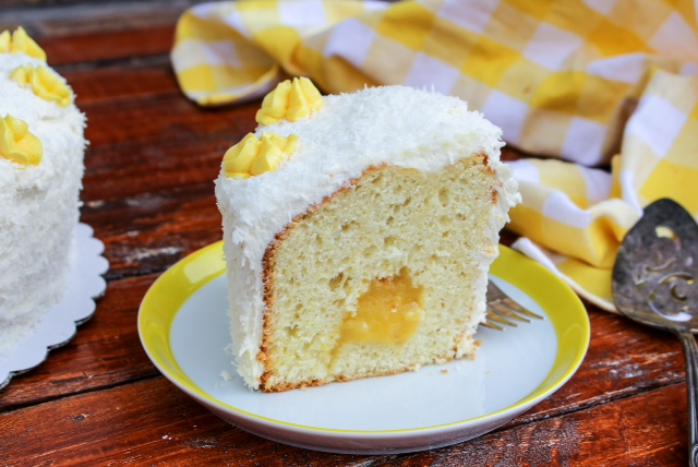 Lemon Filled Tea Cake with Coconut Frosting