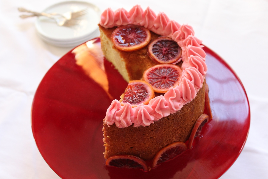 Blood Orange Chiffon Cake drizzled with orange liquor sauce