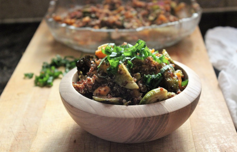 Quinoa, Sweet Potato and Brussels Sprout Salad with Dijon Dressing