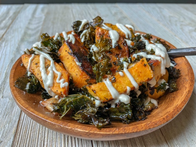 Roasted Balsamic Kale and Sweet Potatoes
