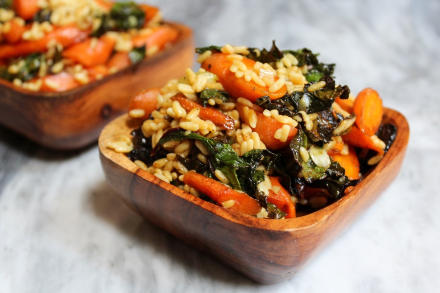 Farm to Table Glazed Carrots & Greens with Right Rice
